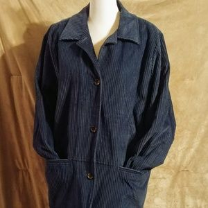 Blue Corduroy Fur Lined Coat
